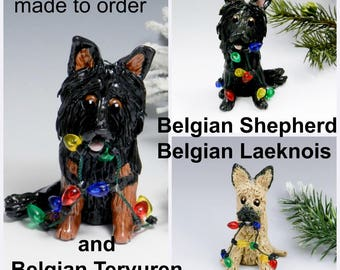 Belgian Breed Dogs Made to Order Christmas Ornament Figurine in Porcelain