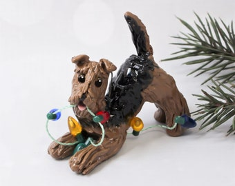Airedale Terrier PORCELAIN Christmas Ornament Figurine Lights