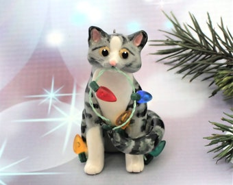 Silver Tabby Cat Porcelain Christmas Ornament Figurine Lights Clay
