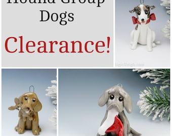 Hound Group Dogs Christmas Ornaments Figurine Porcelain Clearance