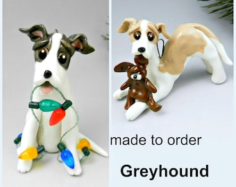 Greyhound PORCELAIN Christmas Ornament Figurine Made to Order