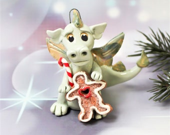 Dragon PORCELAIN Christmas Ornament Figurine Gingerbread Clearance