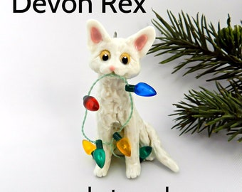 Devon Rex Cat PORCELAIN Christmas Ornament Figurine Made to Order