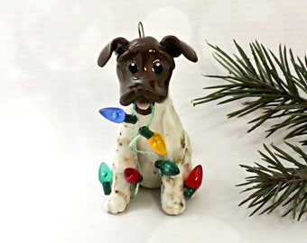 German Shorthaired Pointer Porcelain Christmas Ornament Figurine Lights