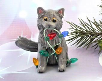 Gray Blue Long Hair Cat Christmas Ornament Figurine Lights Porcelain