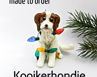 Nederlandse Kooikerhondje PORCELAIN Christmas Ornament Figurine Made to Order