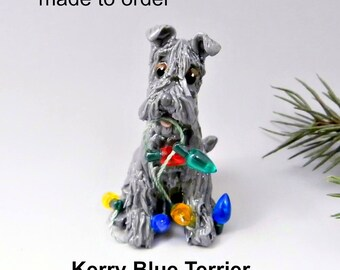 Kerry Blue Terrier PORCELAIN Christmas Ornament Figurine Made to Order