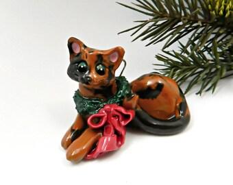 Tortoiseshell Cat Porcelain Christmas Ornament Figurine with Wreath OOAK