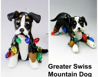 Greater Swiss Mountain Dog PORCELAIN Christmas Ornament Figurine Made to Order