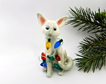 Colorpoint Shorthair Siamese Cat Gray Porcelain Christmas Ornament Lights