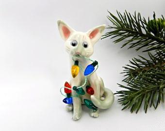Colorpoint Shorthair Siamese Cat Gray Porcelain Christmas Ornament Lights