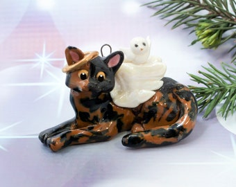 Tortoiseshell Cat Tortie Angel Porcelain Christmas Ornament Figurine OOAK