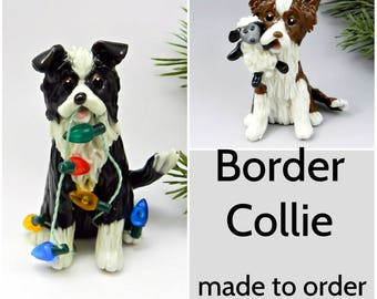 Border Collie Dog Made to Order Christmas Ornament Figurine in Porcelain