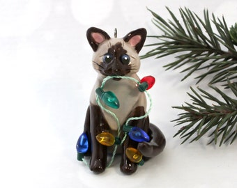 Siamese Sealpoint Cat PORCELAIN Christmas Ornament Figurine Lights