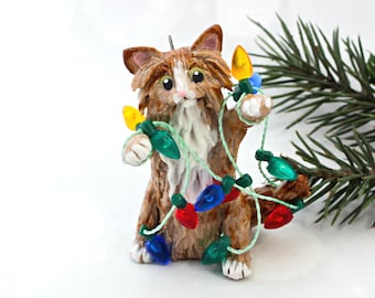 Orange Tabby Maine Coon Cat Christmas Ornament Figurine Lights Porcelain Clay