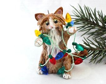 Orange Tabby Maine Coon Cat Christmas Ornament Figurine Lights Porcelain Clay