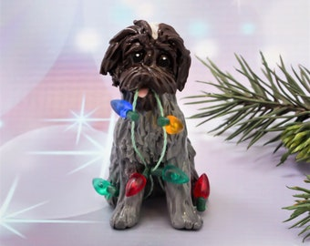 Wirehaired Pointing Griffon Porcelain Christmas Ornament Figurine with Lights