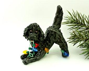 Labra Doodle Golden Doodle Black PORCELAIN Christmas Ornament Figurine OOAK