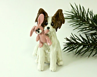 Papillon PORCELAIN Christmas Ornament Figurine with Pink Bunny OOAK