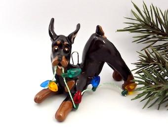 Doberman Pinscher Min Pin PORCELAIN Christmas Ornament Figurine with lights