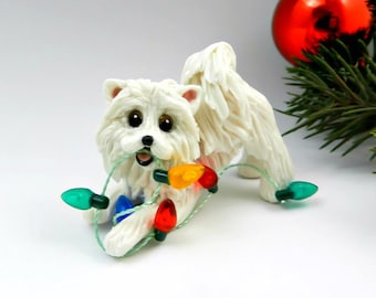 Samoyed Dog Porcelain Christmas Ornament Figurine Clay with Lights