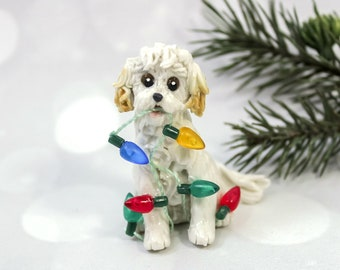MaltiPoo White and Apricot Porcelain Christmas Ornament Figurine Lights