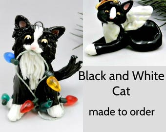 Black and White Cat Porcelain Christmas Ornament Figurine Made to Order