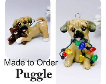 Puggle Dog PORCELAIN Christmas Ornament Figurine Made to Order