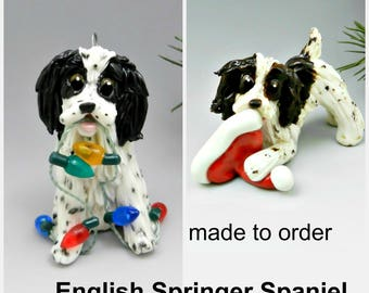 English Springer Spaniel PORCELAIN Christmas Ornament Figurine Made to Order