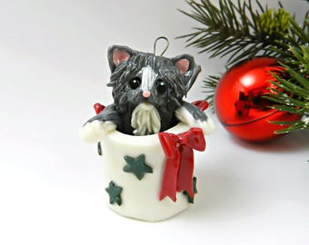 Maine Coon Persian Cat Gray White Porcelain Christmas Ornament Figurine in Bag