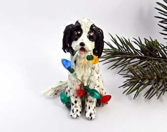 English Setter Blue Belton Porcelain Christmas Ornament Figurine with lights