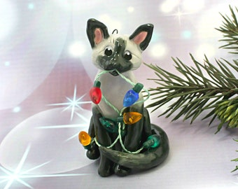 Siamese Bluepoint Cat PORCELAIN Christmas Ornament Figurine Lights