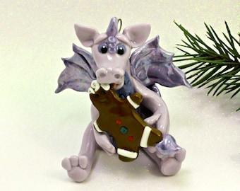 Dragon PORCELAIN Christmas Ornament Figurine Gingerbread Cookie OOAK
