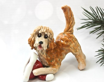 Golden Doodle Labra Doodle PORCELAIN Christmas Ornament Figurine Santa's Hat