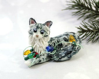 Maine Coon Cat Silver Tabby Porcelain Christmas Ornament Figurine Lights