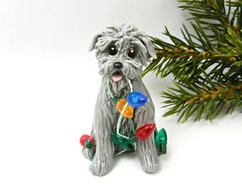 Glen of Imaal Terrier Porcelain Christmas Ornament Figurine Lights