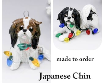 Japanese Chin Dog Made to Order Christmas Ornament Figurine in Porcelain