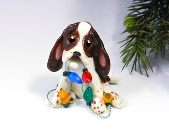 Basset Hound Brown Tricolor Christmas Ornament Figurine Lights Porcelain