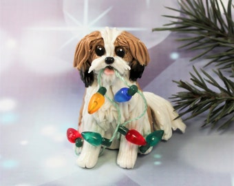 Havanese Sable White Porcelain Clay Christmas Ornament Figurine Lights