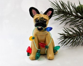 French Bulldog Fawn PORCELAIN Christmas Ornament Figurine Lights