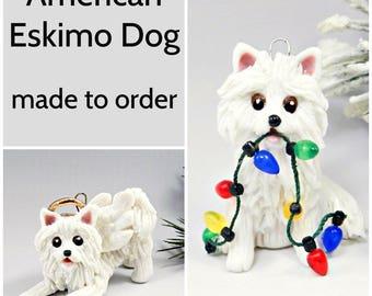 American Eskimo Dog PORCELAIN Christmas Ornament Figurine Made to Order