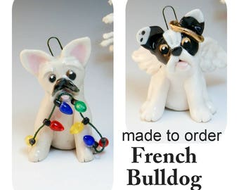 French Bulldog PORCELAIN Christmas Ornament Figurine Made to Order