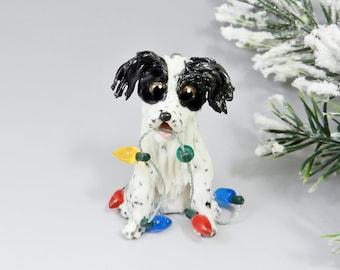 Brittany Dog Christmas Ornament Black White Figurine Porcelain Clearance