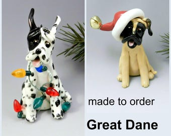 Great Dane PORCELAIN Christmas Ornament Figurine Made to Order