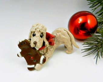 Bedlington Terrier Sandy Porcelain Christmas Ornament Figurine Gingerbreadman