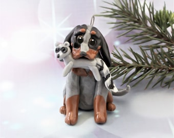 BlueTick Coonhound Christmas Ornament Figurine Raccoon Porcelain