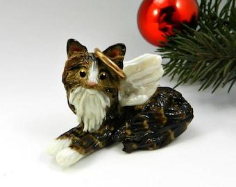 Brown Tabby Angel Cat Porcelain Christmas Ornament Figurine Memorial