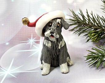 Schnauzer Salt Pepper Christmas Ornament Figurine Santa Hat Porcelain