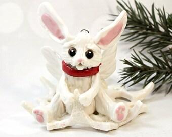 Rabbit Angel Fairy Christmas Ornament Figurine Snowflake Porcelain