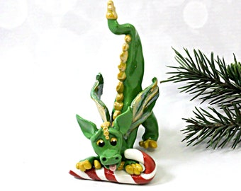Dragon green and gold PORCELAIN Christmas Ornament Figurine Candy Cane OOAK